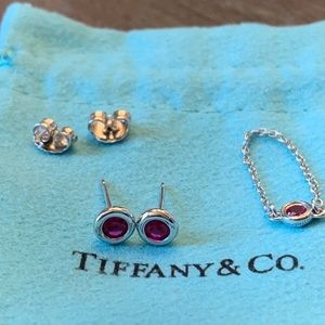 🎀Tiffany & Co Elsa peretti set pink ring earring
